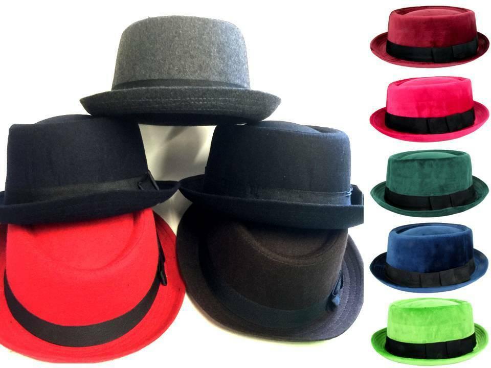 c6fdc6314c903 Porkpie Fedora Unisex Heisenberg Style Trilby Upturn Stingy Brim Cap Wool  Blend