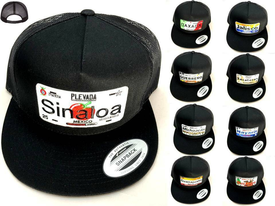 613c48e608d669 Mexico Car Plate Style Hat Mesh Yupoong Five-Panel Trucker Snapback Flat  Bill
